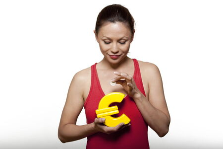 cute woman expressive on isloated white background holding euro money box Stock Photo - 5977857