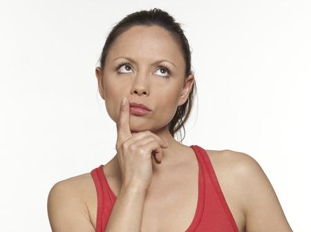 cute Frau expressive auf Isloated weißen Hintergrund
