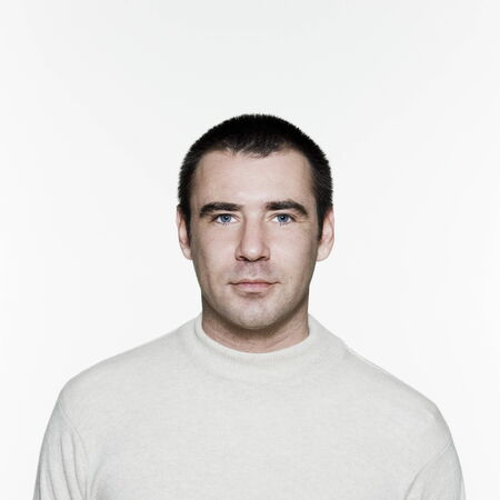 european expression face: Portrait of an handsome expressive man in studio on white isolated background