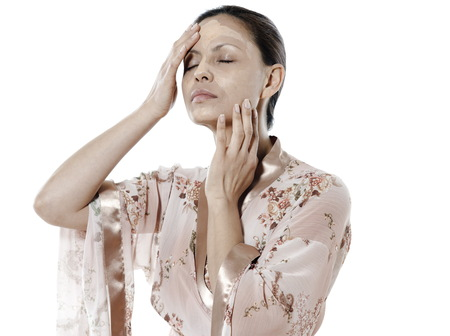 negligee: asian woman on isolated white background skincare woman
