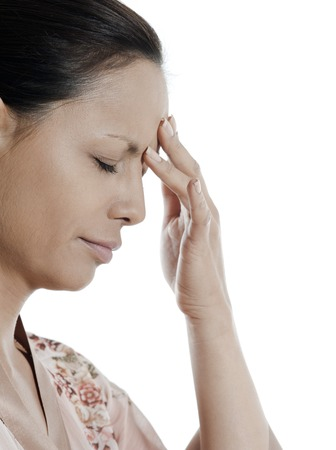 headache woman asian  on isolated white background Stock Photo - 5978197