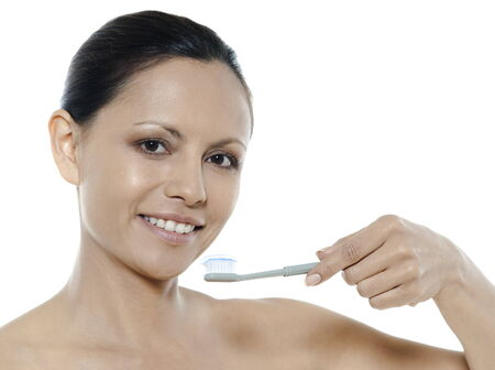 woman asian toothbrush on isolated white background Stock Photo - 5978056