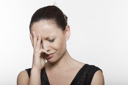 expressing: beautiful expressing sadness woman portrait on isolated background crying