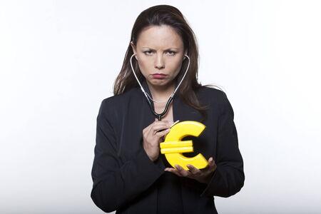 portrait expressive woman isolated background surveying euro Stock Photo - 5977848