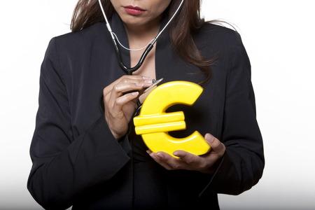 economic crisis: portrait expressive woman isolated background surveying euro LANG_EVOIMAGES