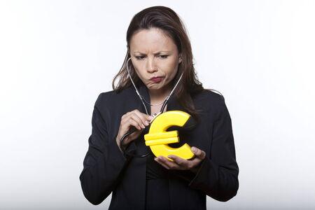 portrait expressive woman isolated background surveying euro Stock Photo - 5977885