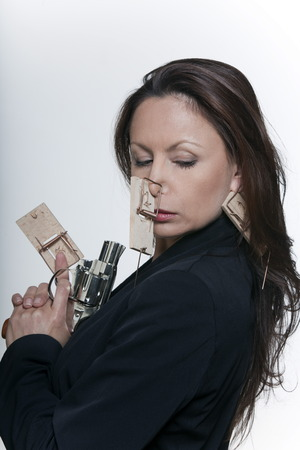 mouse trap: portrait expressive woman isolated background mouse hunting LANG_EVOIMAGES