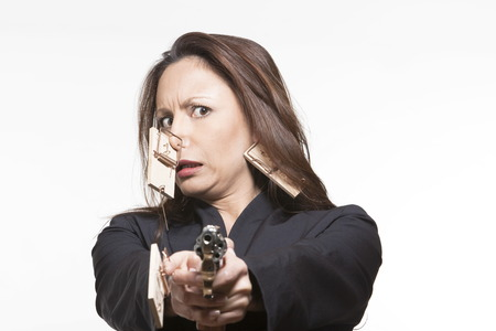 exterminator: portrait expressive woman isolated background mouse hunting LANG_EVOIMAGES