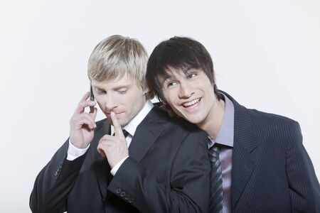 two male expressive young men on isolated background Stock Photo - 5978088