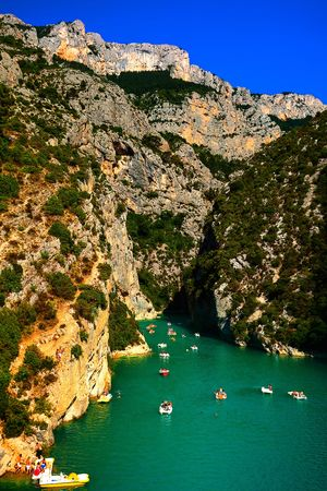 french riviera: beautiful view of the verdon gorge canion in var france