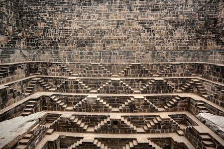 dausa: the giant step well of abhaneri in rajasthan state in indi
