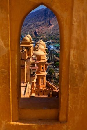 historic place: Amber Fort in jaipur in rajasthan state in indi