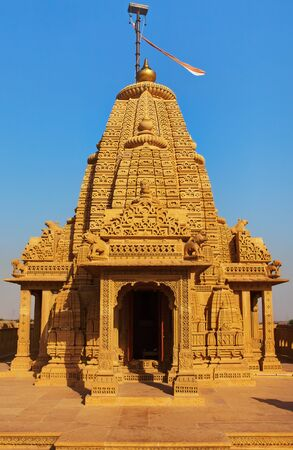 jain temple of amar sagar near jaisalmer in rajasthan state in indi Stock Photo - 9841256