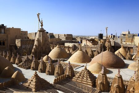 rooftop of jain temples of jaisalmer in rajasthan state in indi Stock Photo - 9823831
