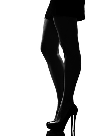 feminine beauty: stylish silhouette caucasian beautiful woman legs shoes high heels  stileletto silhouette on studio isolated white background