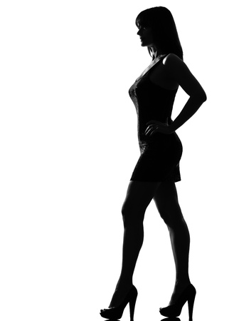 shadow of woman: stylish silhouette caucasian beautiful woman standing profile full length on studio isolated white background LANG_EVOIMAGES