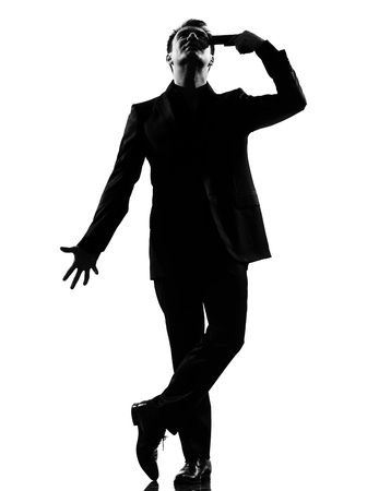 exaggerate: silhouette caucasian business man   despair suicide behavior full length on studio isolated white background LANG_EVOIMAGES