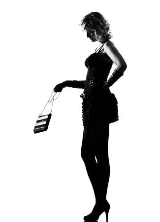 stylish silhouette caucasian beautiful woman sexy  attitude behavior clothes full length on studio isolated white background Stock Photo - 9799931