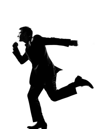 rushed: silhouette caucasian business man  running profile   full length on studio isolated white background LANG_EVOIMAGES