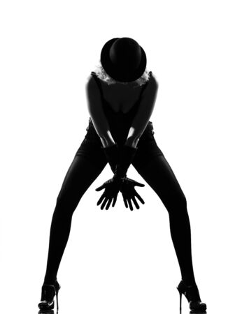 seductress: stylish silhouette caucasian beautiful woman dancing cabaret sexy  attitude behavior clothes full length on studio isolated white background