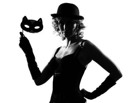 stylish silhouette caucasian beautiful woman sexy  attitude behavior clothes portrait on studio isolated white background Stock Photo - 9800070