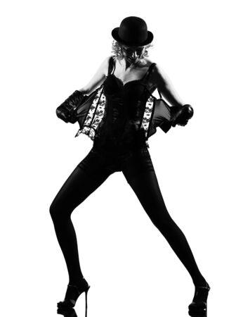 strip tease: stylish silhouette caucasian beautiful woman sexy  attitude behavior clothes portrait on studio isolated white background