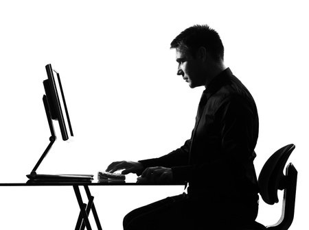 expressing: silhouette caucasian business man  computing expressing behavior full length on studio isolated white background
