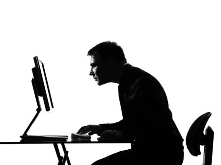 interested: silhouette caucasian business man  computing expressing behavior full length on studio isolated white background
