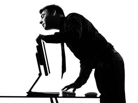 silhouette caucasian business man  computing expressing seeking behavior full length on studio isolated white background Stock Photo - 9799879