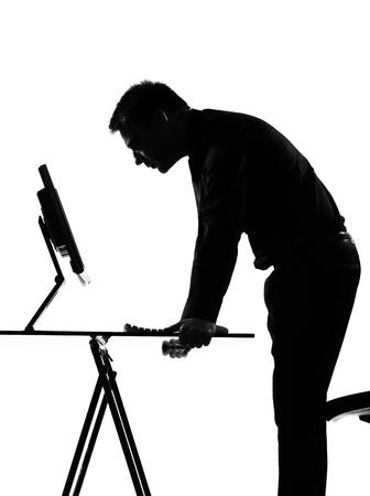 silhouette caucasian business man  computing expressing behavior full length on studio isolated white background Stock Photo - 9799986