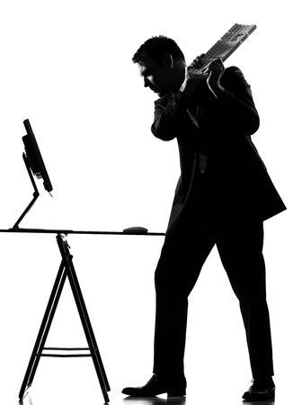 displeased businessman: silhouette caucasian business man  computing expressing behavior full length on studio isolated white background