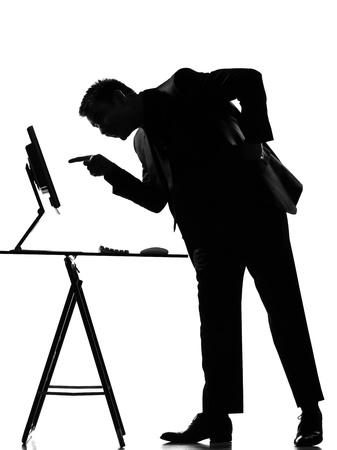 silhouette caucasian business man  computing expressing behavior full length on studio isolated white background Stock Photo - 9800039