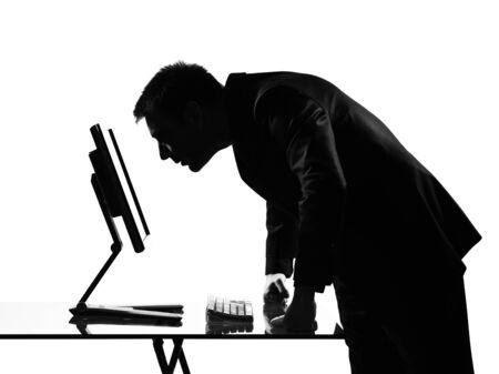 silhouette caucasian business man  computing expressing behavior full length on studio isolated white background Stock Photo - 9800005