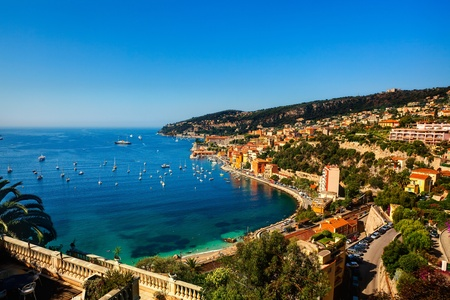 beautiful village of villefranche sur mer on the french riviera france  cote d'azur 스톡 콘텐츠