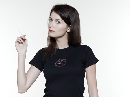 non smoking: studio portrait of a beautiful woman on isolated on white background smoking addiction concept