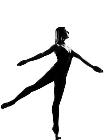 tall woman: beautiful caucasian tall woman ballet dancer full length on studio isolated white background