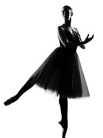 beautiful caucasian tall woman ballet dancer standing pose  full length on studio isolated white background Stock Photo - 9800106