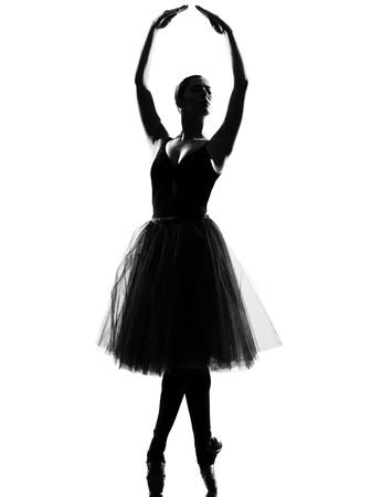 beautiful caucasian tall woman ballet dancer standing tiptoe pose  full length on studio isolated white background Stock Photo - 9800084