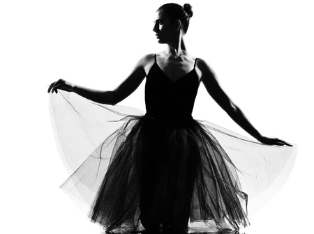 beautiful caucasian tall woman ballet dancer full length on studio isolated white background Stock Photo - 9823820