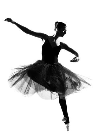 ballet: beautiful caucasian tall woman ballet dancer full length on studio isolated white background