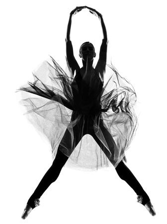 dancer silhouette: beautiful caucasian tall woman ballet dancer full length on studio isolated white background