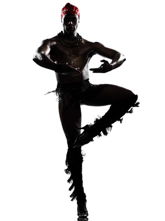 one  african man dancer dancing on studio isolated white background photo