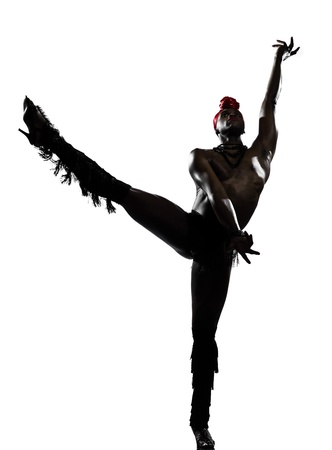 one  african man dancer dancing on studio isolated white background Stock Photo - 11615804