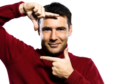 handsign: caucasian man finger frame gesture studio portrait on isolated white backgound Stock Photo