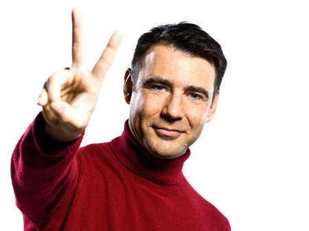 handsign: caucasian man  peace sign  gesture studio portrait on isolated white backgound