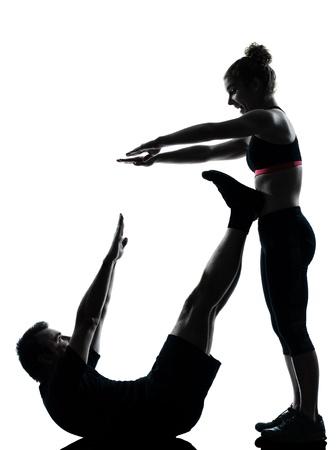 one couple man woman exercising workout aerobic fitness posture full length silouhette on studio isolated on white background Stock Photo - 11615834