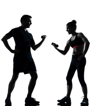 one couple man woman exercising workout aerobic fitness posture full length silouhette on studio isolated on white background photo