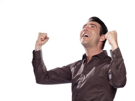 jubilation: man portrait victory triumph  studio isolated on white background Stock Photo