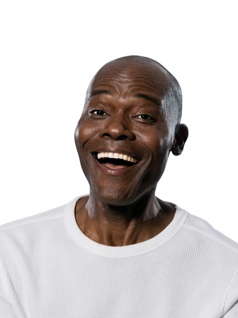 Close-up portrait of an afro American laughing man in studio on white isolated background photo
