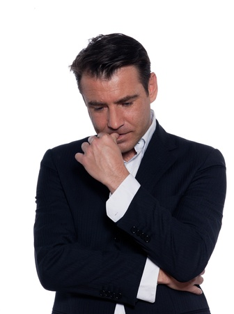 stressed out: studio portrait on white background of a business man thiking pensive portrait Stock Photo